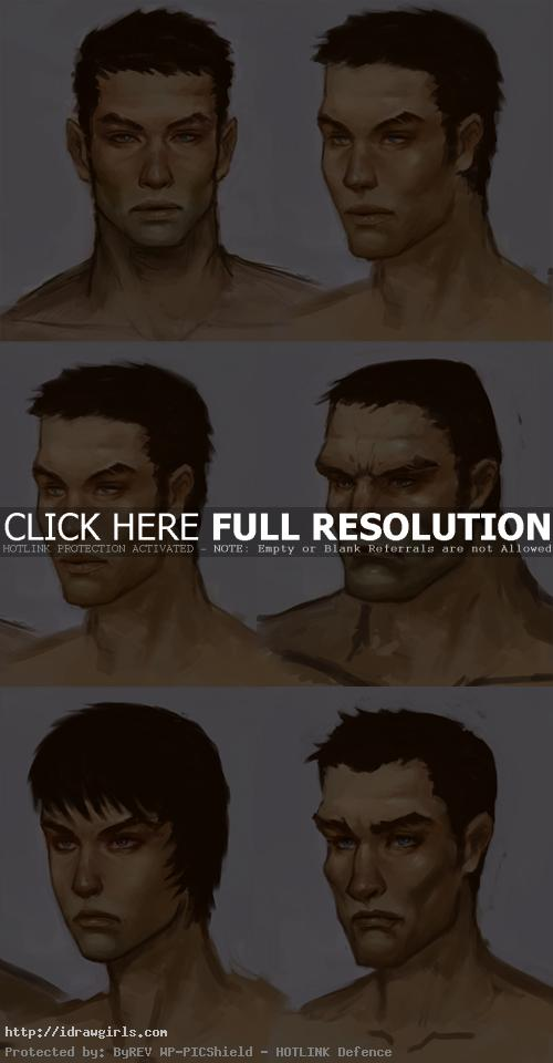 Painting different style of men faces