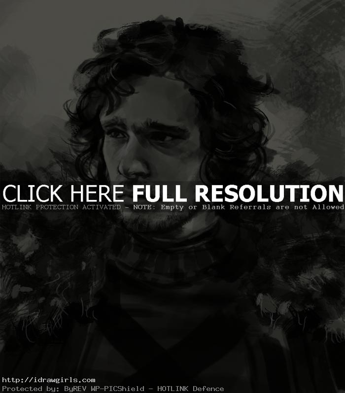 How to draw Jon Snow portrait