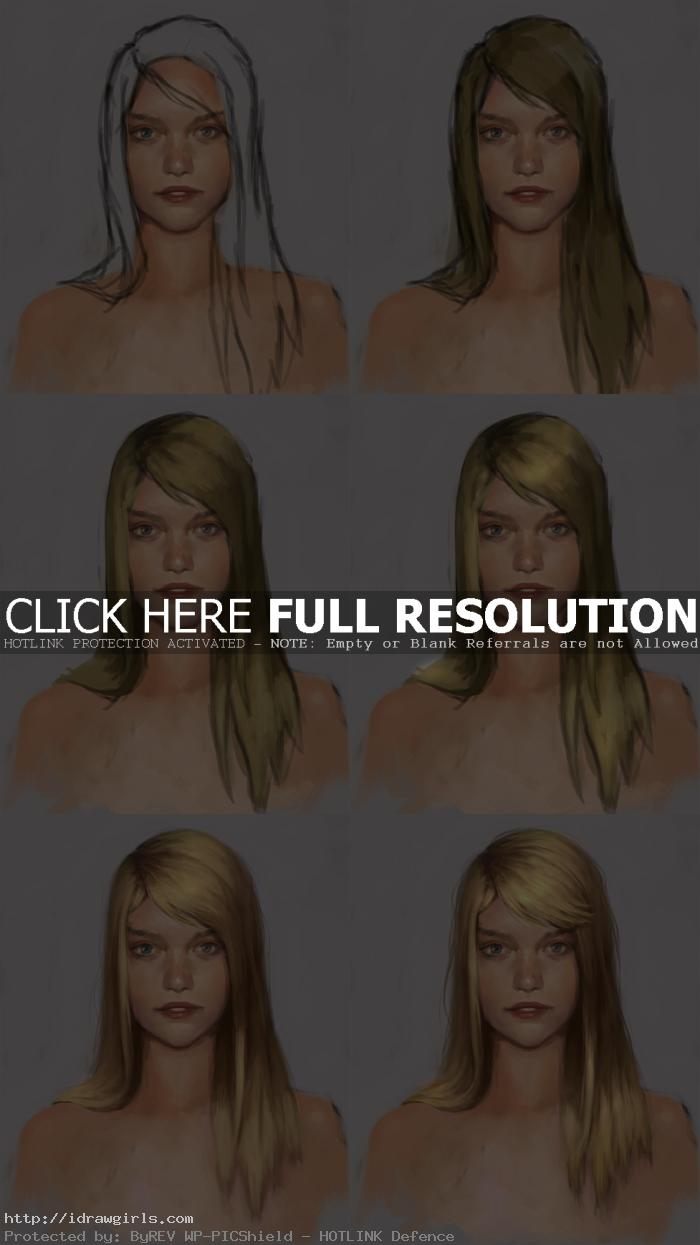 Digital painting tutorial, long blond hair