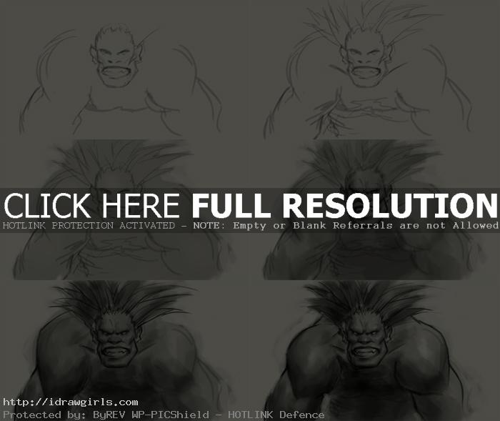 How to draw Blanka Street Fighter