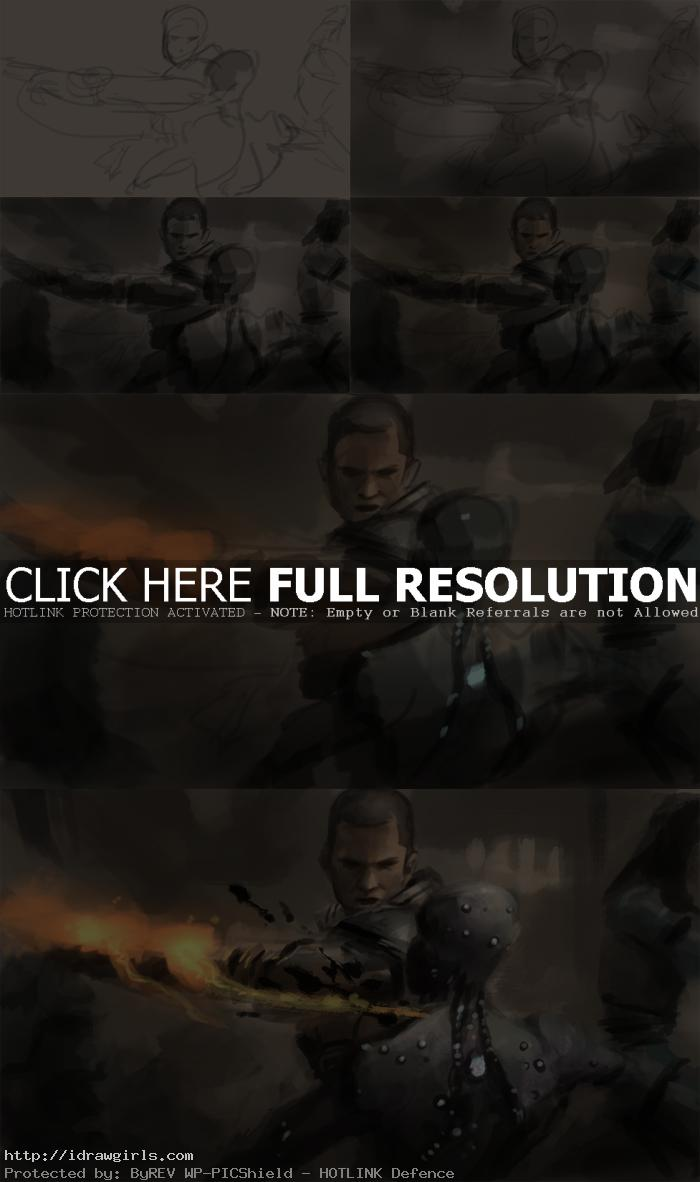 Speed painting tutorial Shepard vs Husk