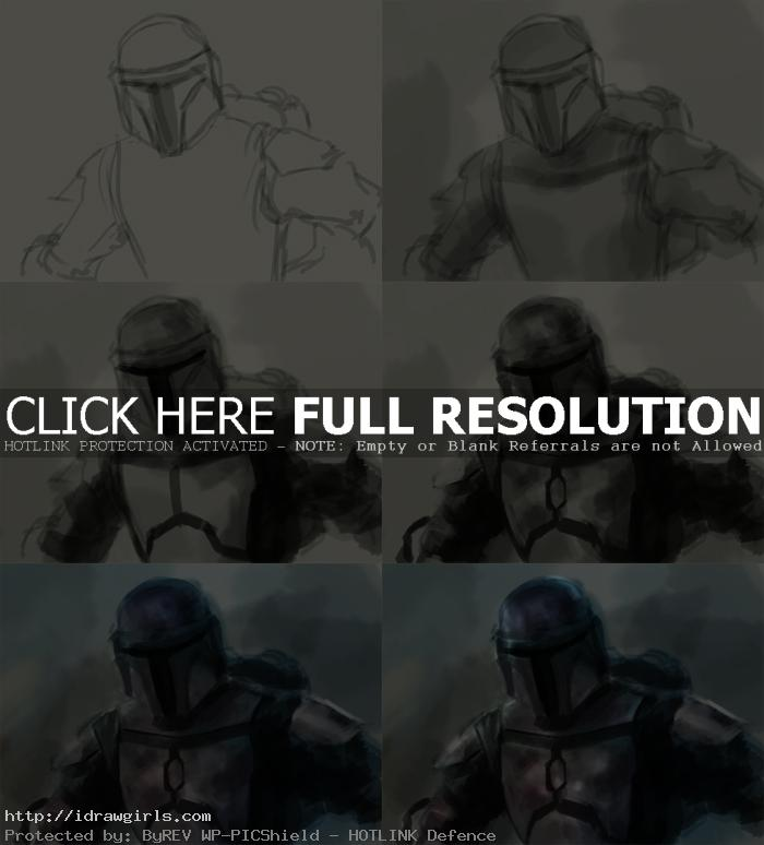 digital painting tutorial Jango Fett