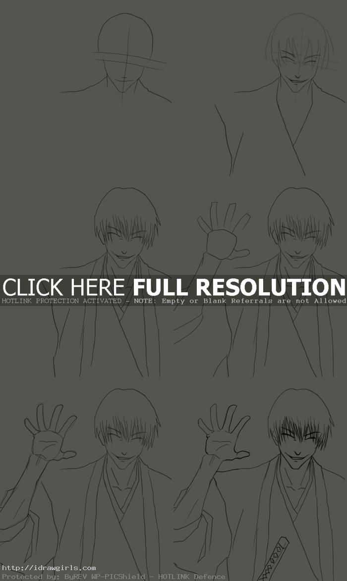 how to draw Gin Ichimaru