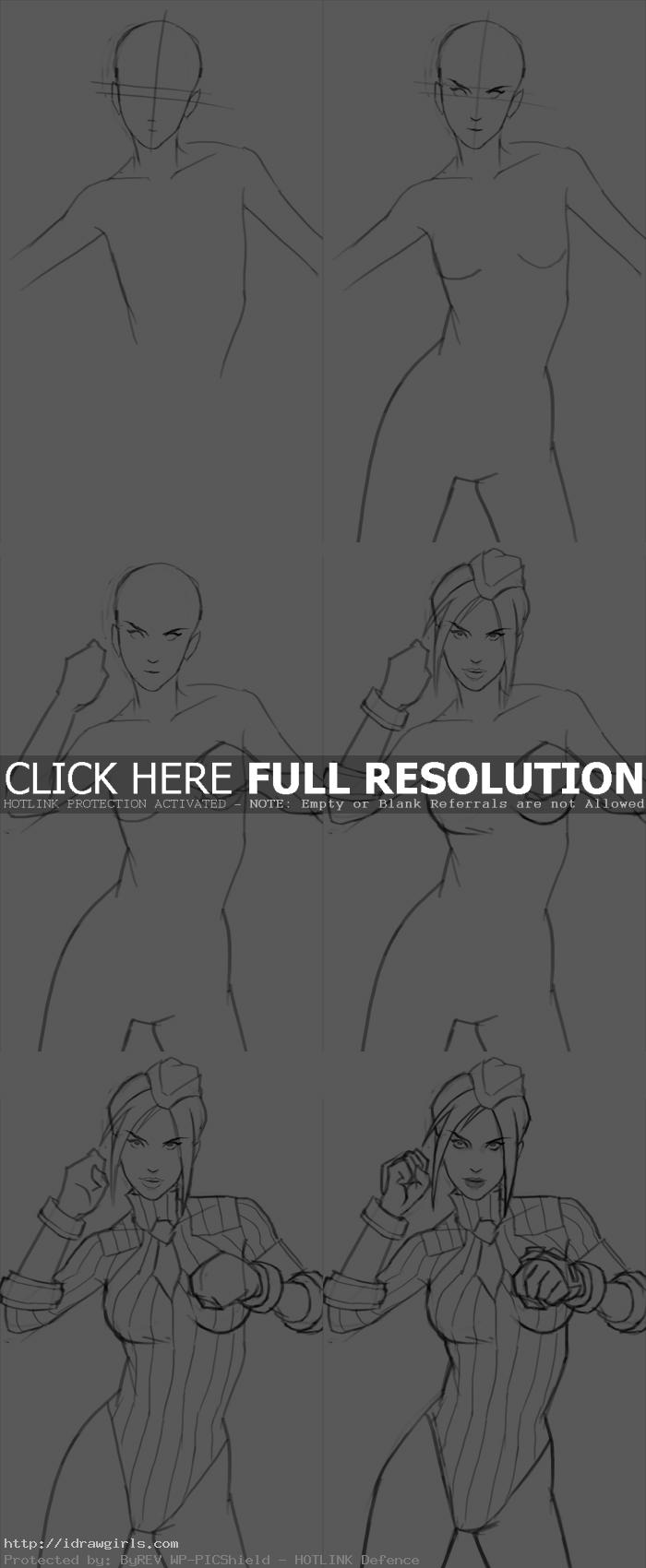How to draw Juli from Street Fighter