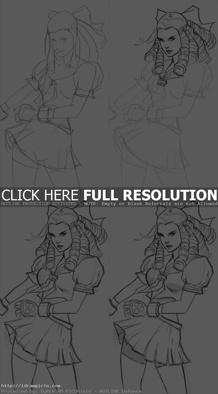 How to draw Karin from Street Fighter