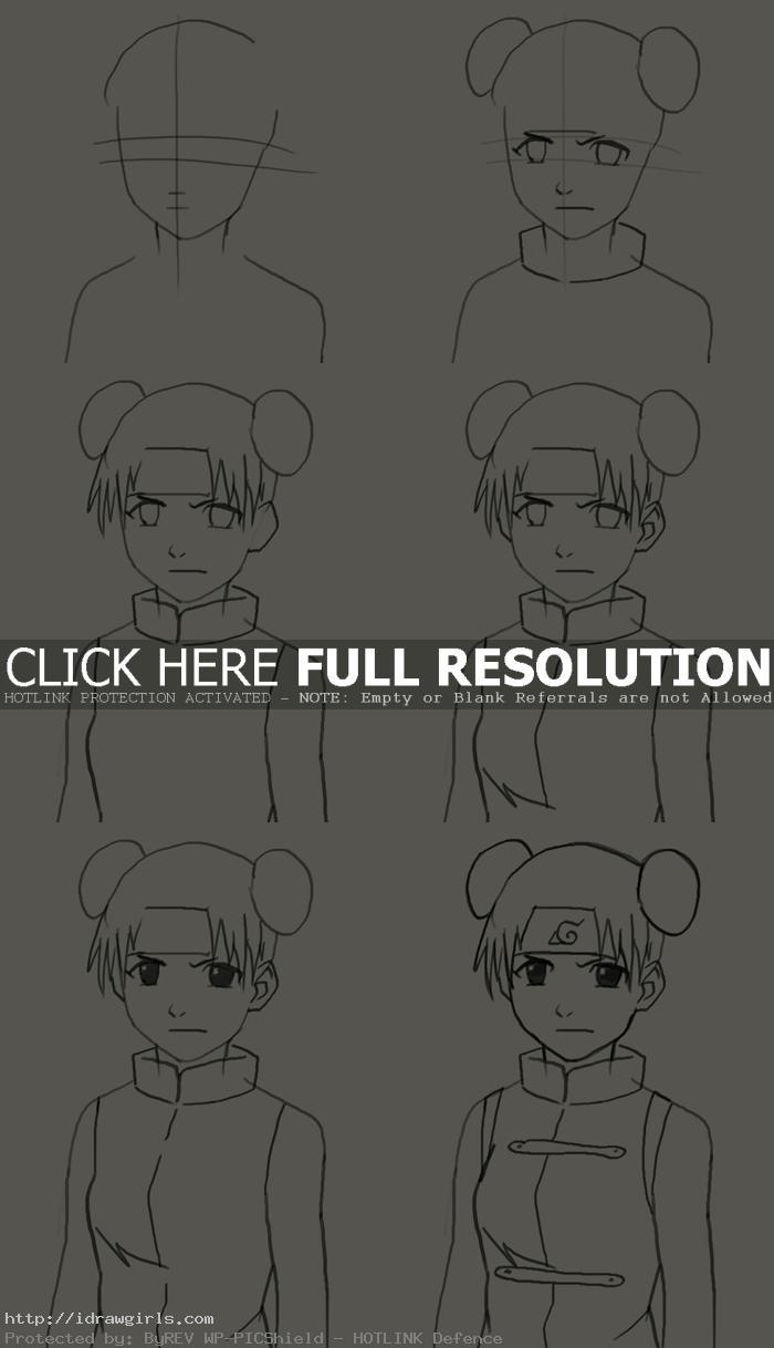how to draw Tenten