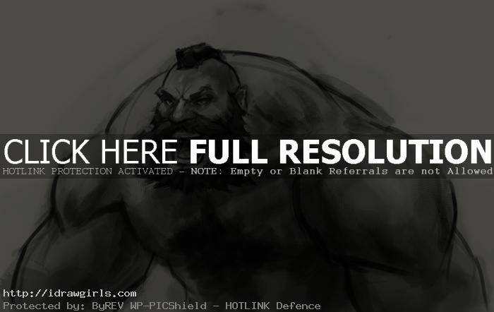 How to draw Zangief