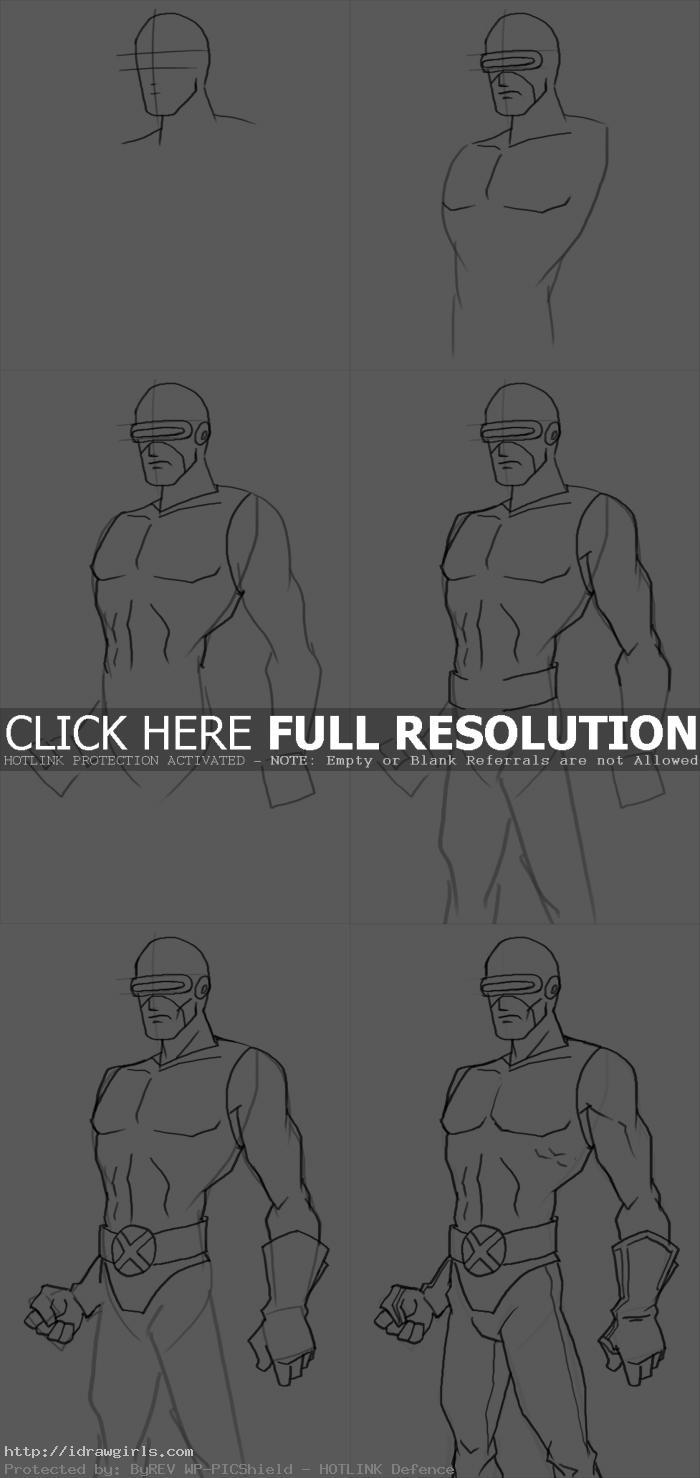 How to draw Cyclops X-men