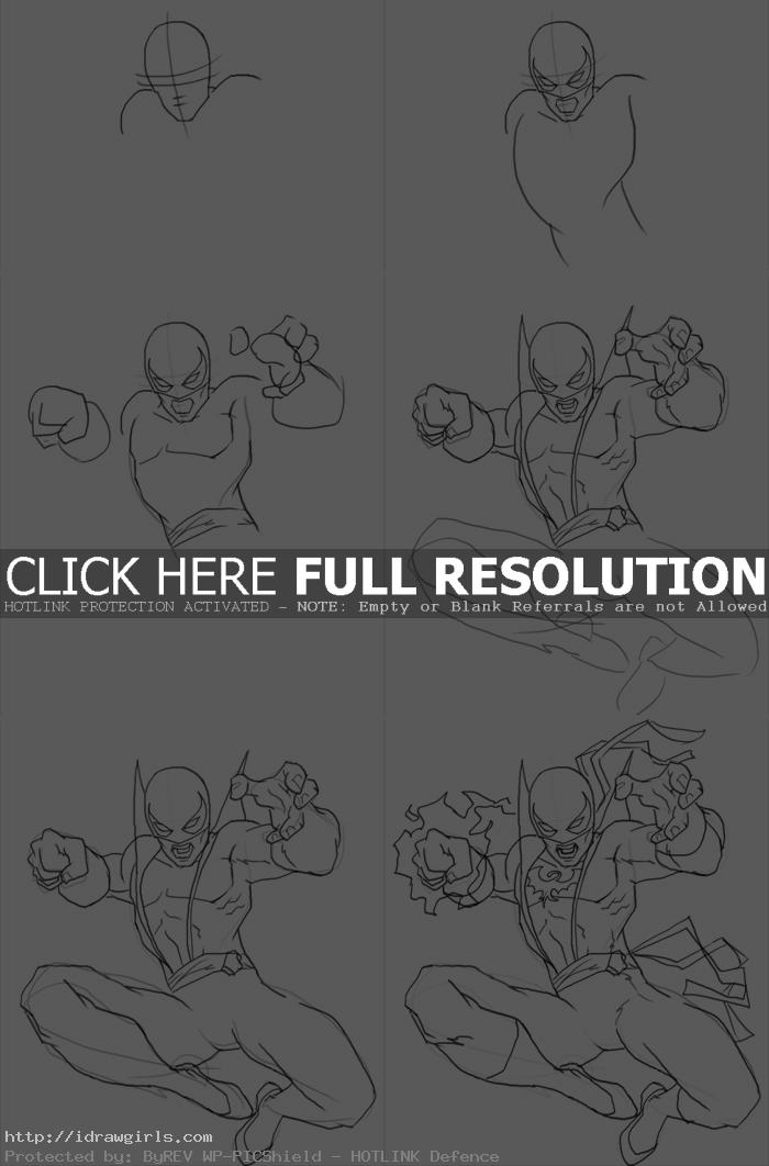 how to draw Iron Fist