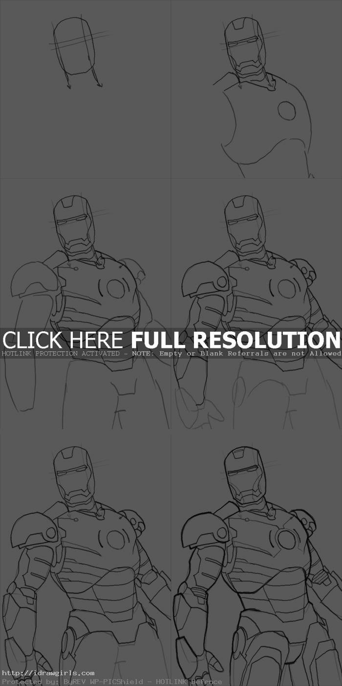 how to draw Iron Man Mk3