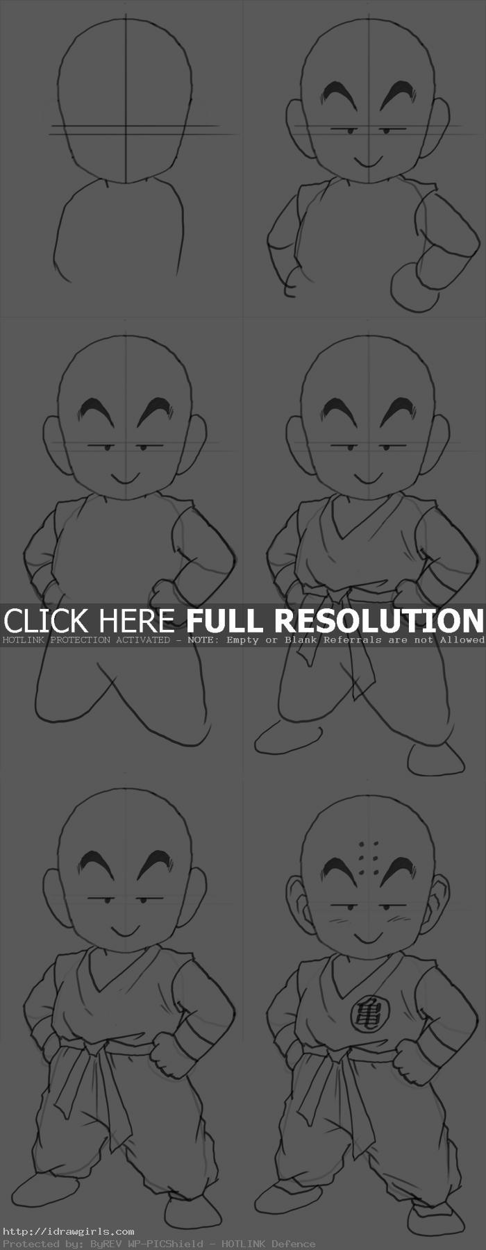 how to draw Krillin