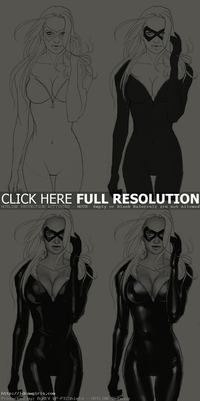 how to draw Blackcat Marvel comics part 2