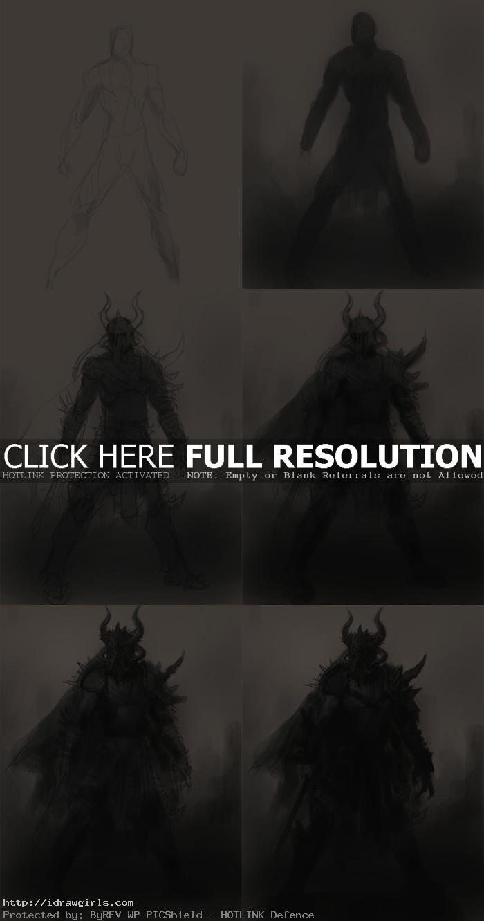 how to draw dark warrior character design