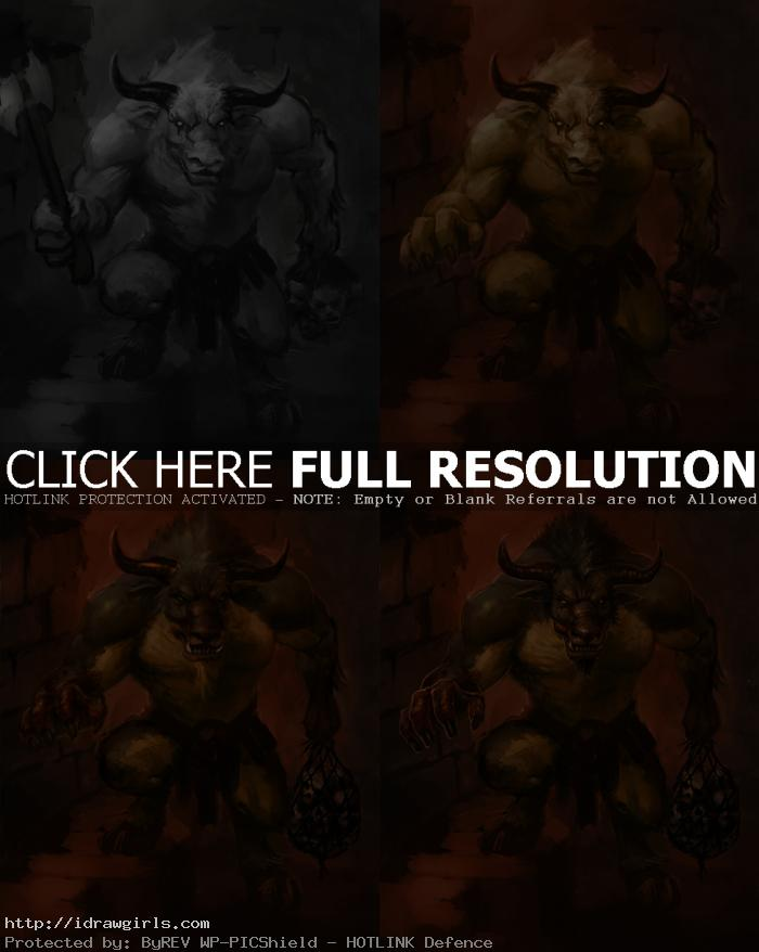 creature concept art tutorial Minotaur step by step