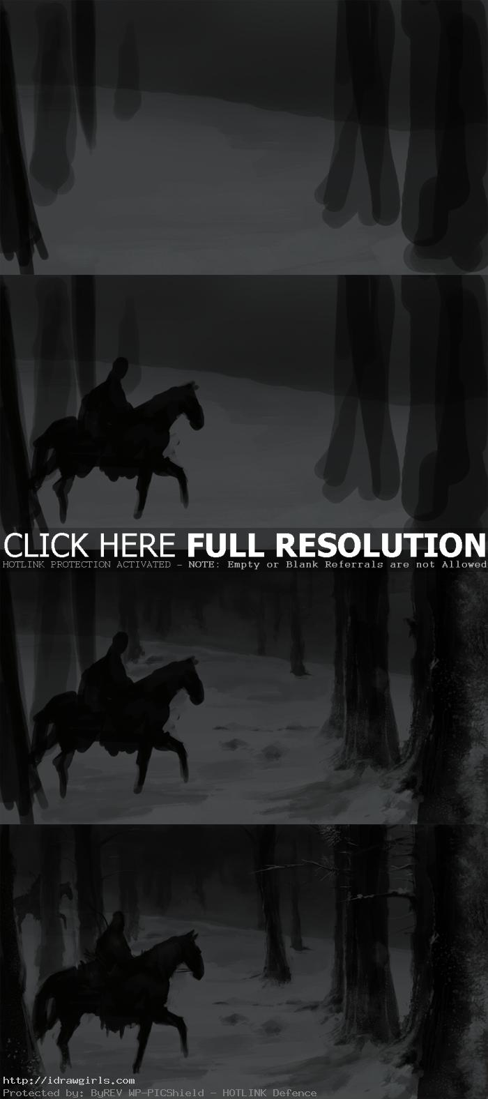 speed painting horse man step1