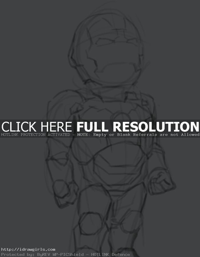 How to draw Ironman 3 chibi