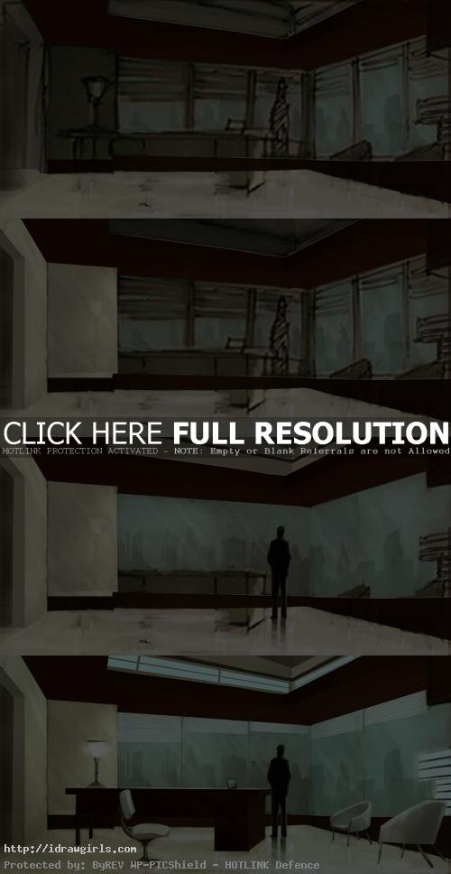 Painting office concept art step by step