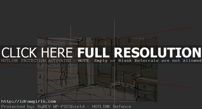 two points perspective room sketch