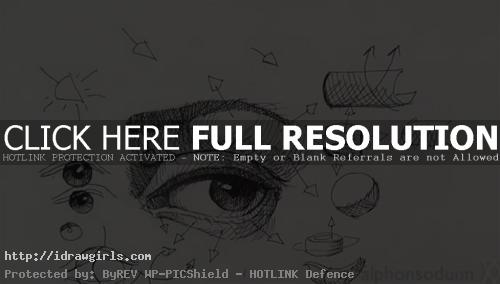 how to draw eye with pen 2