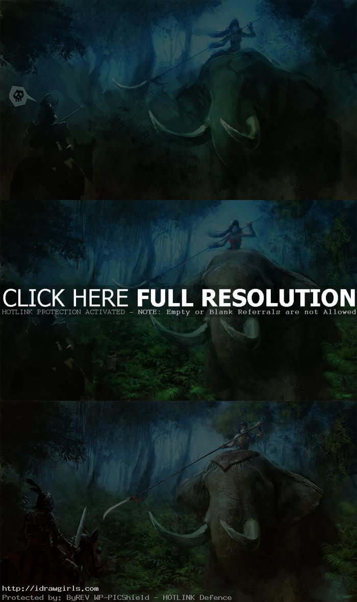 digital painting tutorial elephant rider part2