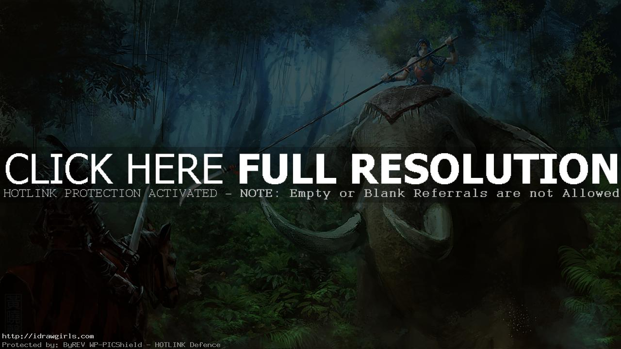 Digital painting tutorial elephant rider knight