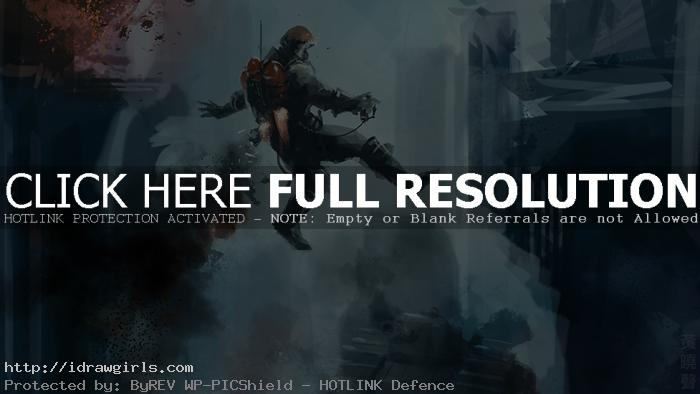 Digital painting tutorial soldier with jetpack concept art