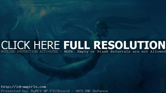 Digital painting tutorial underwater mermaid