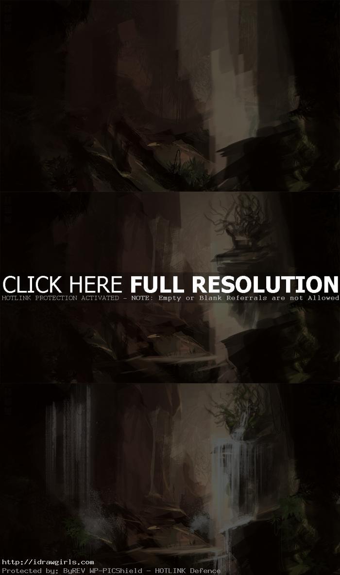 digital painting tutorial waterfall process