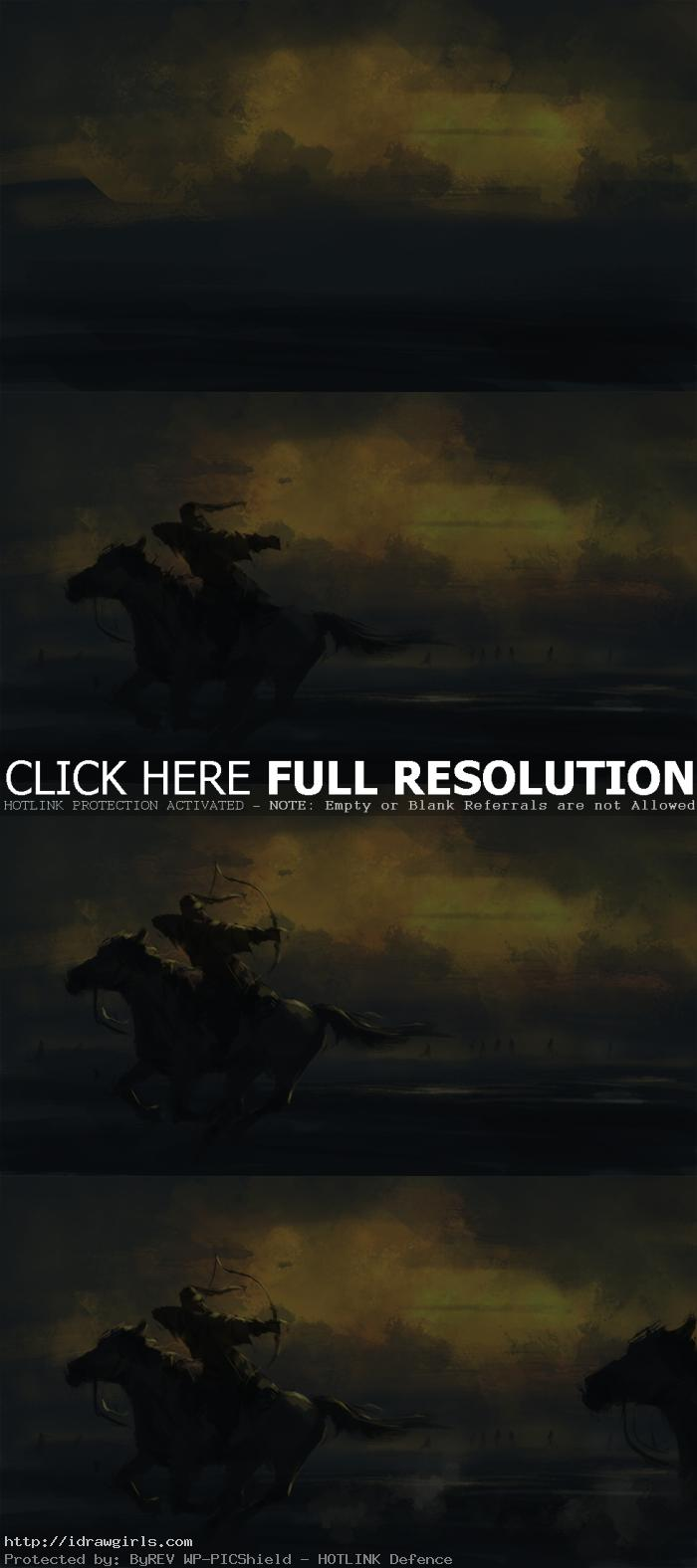 painting archer horseman back lighting