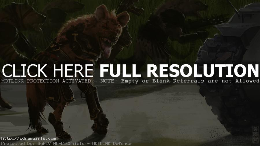 Digital painting tutorial Gnoll Hyena commandos