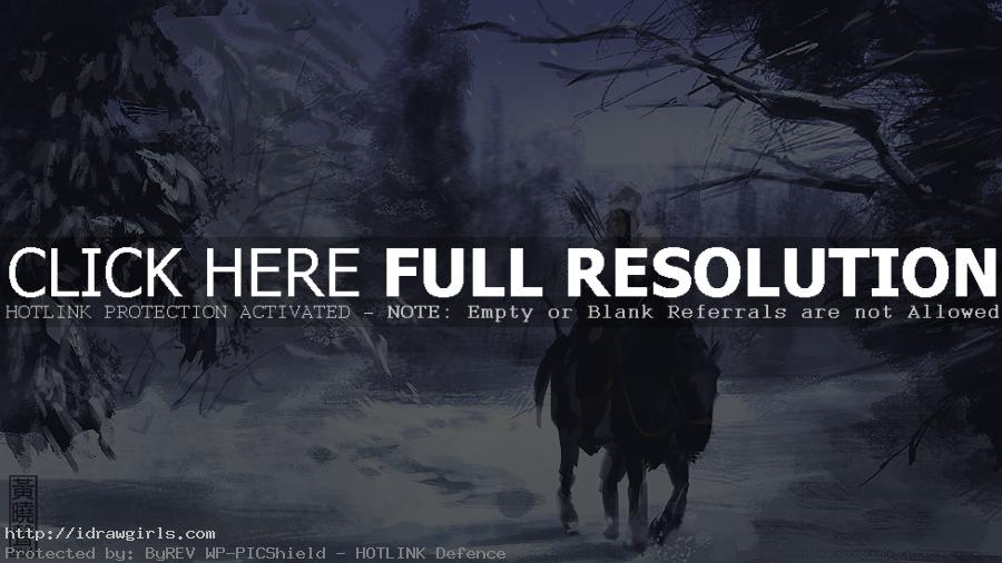 Digital painting tutorial archer horseman in snow speedpainting concept art