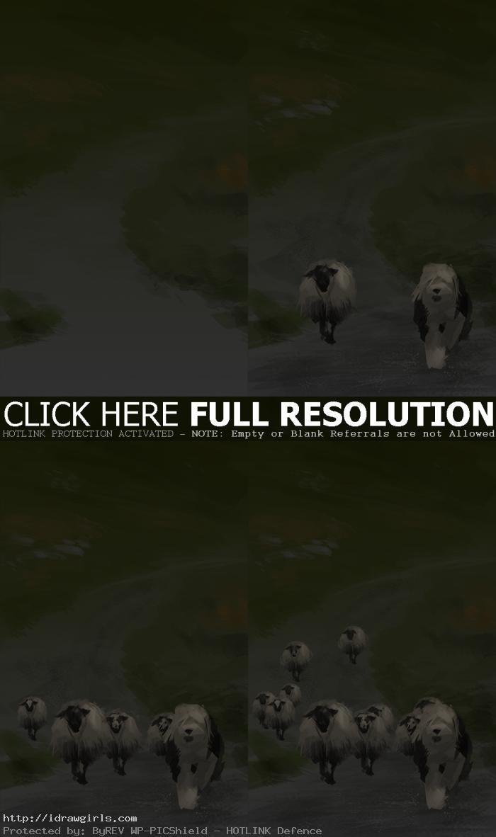 digital painting tutorial sheepdog