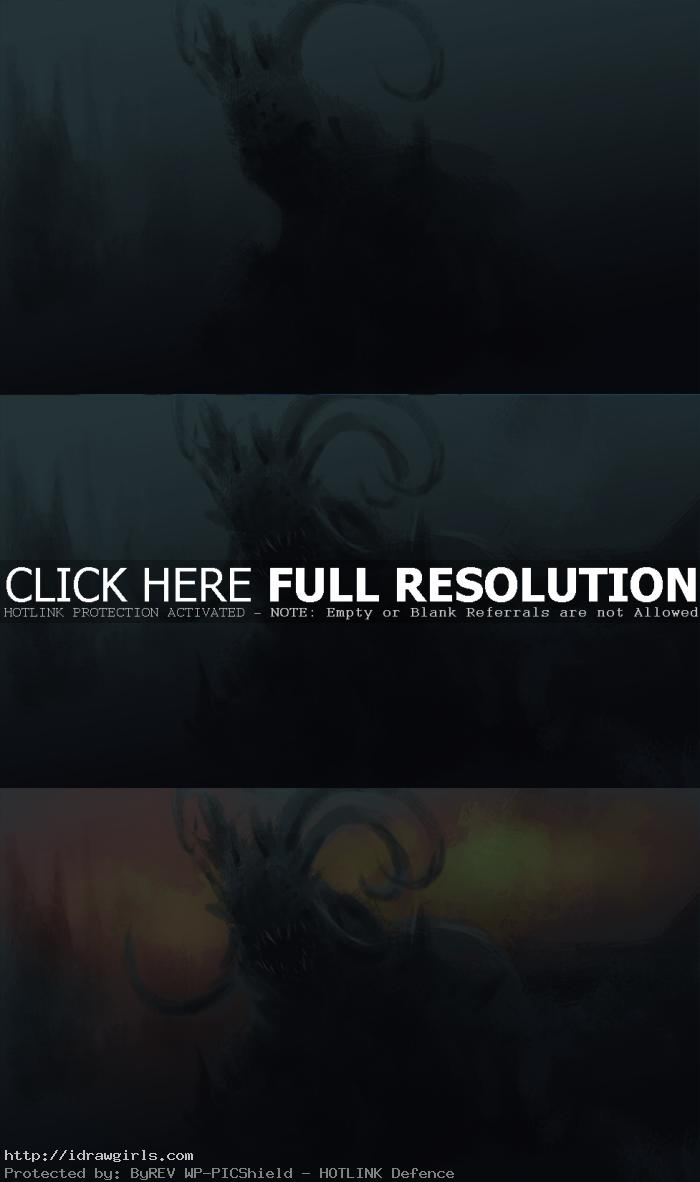 digital painting fire lord creature