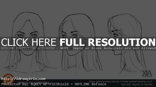 drawing basic female face video tutorial