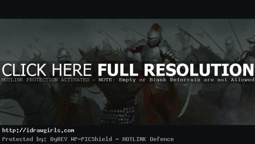 Cavalry of Knights digital painting process