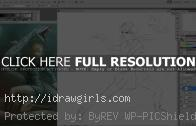 Drawing anime girl in action pose