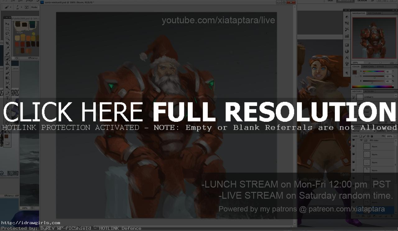 Santa Reinhardt Overwatch digital painting tutorial